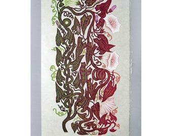 Snake Vine - Woodcut Print, Woodblock Print by Tugboat Printshop