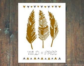 Wild and Free Bold Tribal Wall Art Print 11x14 Instant Download