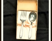 Baby Spoon Fork Gift Set, Oneida Tudor, Oneida Silversmiths, Vintage Tableware, Kitchen Deco,