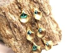 Gold & Teal Duster Earrings Kujaku Genuine Swarovski Crystal Indicolite 14k Gold Fill Golden Brass Peacock Callalily Long Romantic Dangle