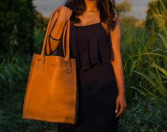 Handmade Structured Leather Tote Bag