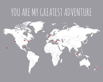 Husband Gift, World Map - You Are My Greatest Adventure Travel Map Poster of World - Paper Anniversary Gift for Travelers, Map Art Print