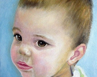 Original Custom Portrait Painting from your photo, oil painting on canvas, children portraits, son, daughter