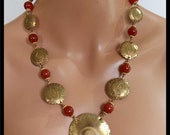 RESERVED for LITSA - Handforged Evil Eye Bronze and Carnelian Wirewrapped 1 of a Kind Statement Necklace