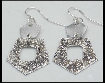 GENA - Handforged Textured Antiqued 2 Section Pewter Earrings