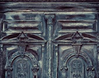 "Weathered Rustic Door Photography, Blue Door, Urban Decay, Vintage Old Door Decor, Fine Art Photography, Urban Decor, ""Tarnished"""