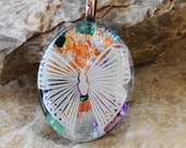 Oval Fused Glass Necklace, Fused Glass Butterfly Pendant, Dichroic Fused Glass Pendant, Coppery Summer Pendant - White Butterfly