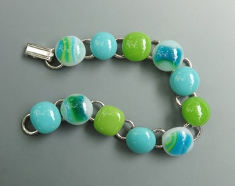 Green and Blue Glass Link Bracelet,  Fused Glass Bracelet ,  Fused Glass Link Bracelet , Summer Bracelet