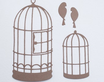 Birdcage and Bird Die Cuts. Set of 10 Kraft Colored Die Cut embellishment for Card-Making, Scrapbooking, Altered Art and more