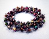 Jewelry Supplies, One Yard of Gunmetal Silver Beaded Chain, Purple Fire-Polished Acrylics, Destash Supplies, FREE Shipping U.S.