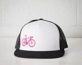 Vital Bicycle - trucker cap, hot pink on black