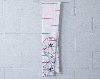 Fixie Jersey Scarf-White with Red Stripe and Charcoal Fixie