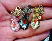 Three Lovely Rhinestone Pendants-Pink-Black-Gold
