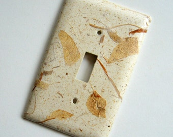 Natural Mango Leaf Nature Switch Plate -  handmade paper, mango leaves, brown, natural, botanical, home decor, Nature inspired, earthy, ooak
