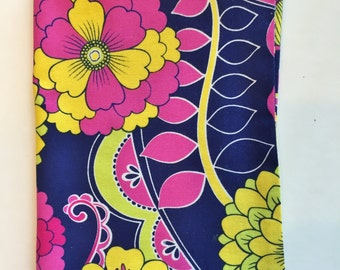 Floral Book Cover, Fabric Book Cover, Book Cover for Standard Paperback Book, Pink, Yellow, Navy Fabric, Paperback Book Cover, Flowers