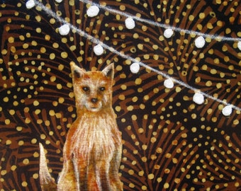 Fox under string lights, orange fox, black, woodland forest, baby shower gift, nursery, Original Fabric on Wood panel