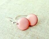 round torch fired enamel earrings sterling silver pastel pink-dangle earrings
