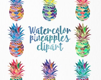 Watercolor pineapple clipart | Set of 8 watercolor rainbow pineapples | Multi color pineapple clip art | Watercolor clip art | rainbow art