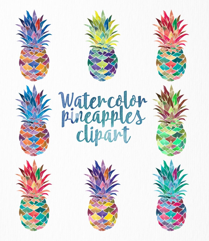 Digital clip art | Watercolor pineapples | Set of 8 ...