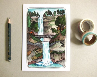 Greeting Card - Multnomah Falls Greeting Card - Oregon Card - Blank Greeting Card - Illustrated Card - Waterfall Card - Mulnomah Falls