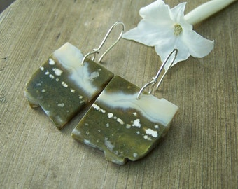 Ocean Jasper Druzy slice,  sterling silver  earwire,earrings