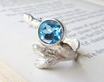 Twig Engagement Branch Gemstone Ring Blue Topaz Gemstone Ring in Sterling Silver Clearance Sale