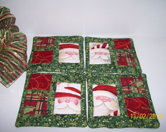 Coasters, Pieced, Quilted, Santa Coaster, Set of 4, Quiltsy Handmade,cij