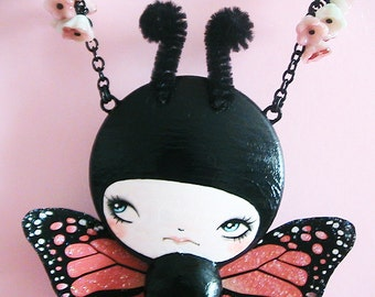 Monarch Doll Face Necklace