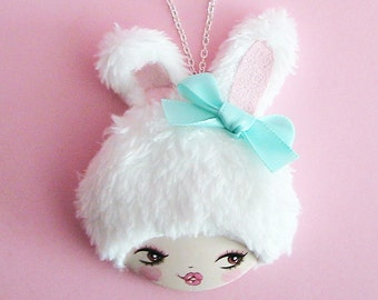 Bunny Girl  Doll Face Necklace