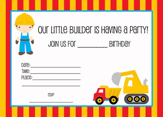 Delicate image throughout free printable construction birthday invitations