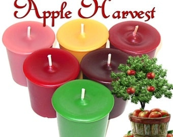 6 Apple Harvest Votive Candles Assortment Autumn Fall Variety Pack Scents