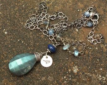 Huge Labradorite Pendant, Asymmetrical Necklace, Oxidized Sterling Silver Adjustable Necklace, Checkerboard Cut Labradorite Briolette Stone