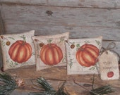 Set of 3 - Rustic Primitive Pumpkin - Happy Fall Harvest - Halloween Mini Pillows Grungy Ornies Bowl Fillers Cupboard Tucks Ornaments