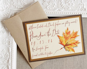 Autumn Foliage Watercolor Save the Date Card - fall wedding save the date - fall leaves save the date - rustic wedding - fall autumn wedding