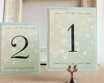 Winter Snow Wedding Reception Table Numbers Winter Wonderland Frosty Bokeh Snowflake Aqua Blue Silver