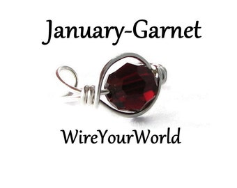 January Garnet Birthstone Sterling Silver Ear Cuff or 14k gold fill wrap cartilage earring non pierced Personalized Birthday Gift