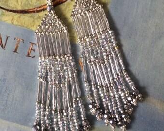Beadwork Long Silver Seed Bead and Crystal Fringe Earrings Wedding Prom Holiday Jewelry Chandelier Earrings