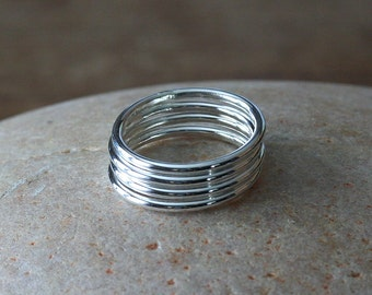 Stacking Rings • Set of 4 • Sterling Silver • Size 2 to 15