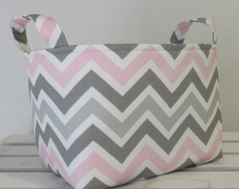 Storage Fabric Organizer Bin Container Basket - Light Pink Gray White Zoom Zoom Chevron ZigZag Zig Zag Fabric - Chose your Inside Fabric