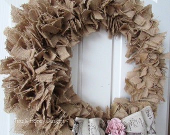 Burlap Wreath, Rag Wreath, Rustic Wreath, Shabby Decor Round  20""
