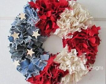 "Patriotic Wreath, Rag Wreath, Americana, Rustic, Shabby Decor Round  16"" July 4th"