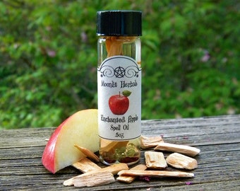 Enchanted Apple Spell Oil - Love, Beauty, Abundance, Wisdom, Knowledge, Gratitude, Friendship, Peridot and Garnet Crystals, Mabon, Lammas