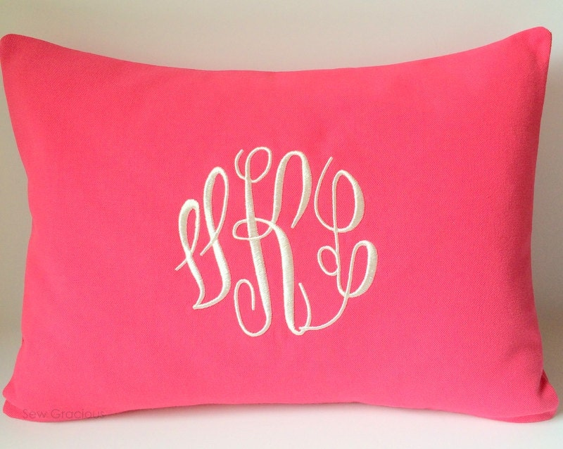 Decorative Pillows With Monogram : Monogram Pillow Covers 12x16. Decorative Throw Pillows. Pillow