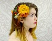 Autumn Flower Hair Clip, Fall Hair Accessory, Yellow and Orange Hair Clip, Autumn Flower Hair Fascinator, Fall Boho Hair Clip, Ready to Ship