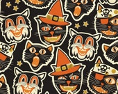 ON SALE Cat-tastic Black by Maude Asbury - The Spooktacular Eve Collection, Halloween - Cats - Blend Fabrics One Yard Quilting Weight Fabric