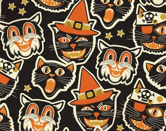 Halloween Cat Fabric Cat-tastic Black by Maude Asbury - The Spooktacular Eve Collection - Blend Fabrics One Yard Quilting Fabric
