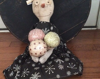 Primitive Doll,  Snowman Snowgal Gelato Made to order
