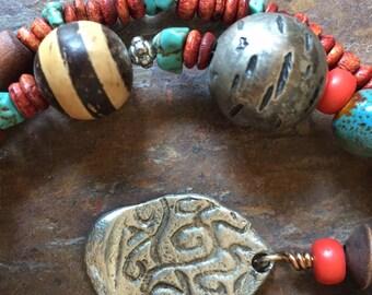Handmade Pewter Pendant Necklace Bohemian Earthy
