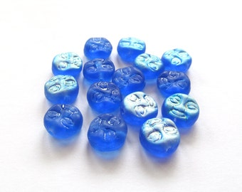 Matte Sapphire Blue Man in the Moon Round Czech Glass Beads with AB Finish, 10mm - 15 pieces
