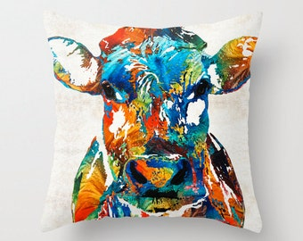 Throw Pillow COVER Colorful Cow Art Design Home Sofa Bed Chair Couch Decor Artsy Decorating Made Easy Living Room Bedroom Farm Animal Bovine